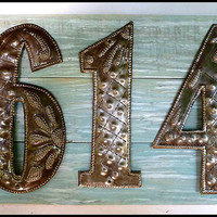 3 Address Numbers, Pallet Wood, House Number Sign,Metal Numbers,  Address Sign,Shabby Chic, Reclaimed Wood, Address Plaque, A3-3-AQ-7