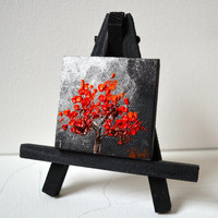 Tiny art, Miniature, Moonliit Red Tree Miniature, Original Oil Painting, Dollhouse Art, American Girl Doll, 2""