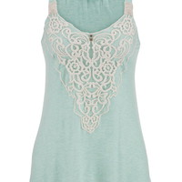 Embroidered Mesh Overlay Swing Tank - Mint Creme