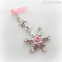 Rhinestone Snowflake iPhone dust plug charm, earphone jack charm for iPhone Smartphone