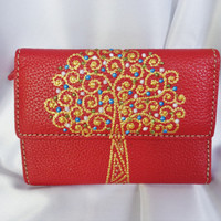 Genuine leather women's wallet Painted wallet Bohemian decor Bohemian wallet Red wallet