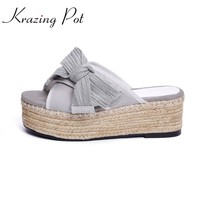 Krazing Pot new empty after knitted bowknot bowtie peep toe platform sandals straw high heels High-end custom plus size shoe L67