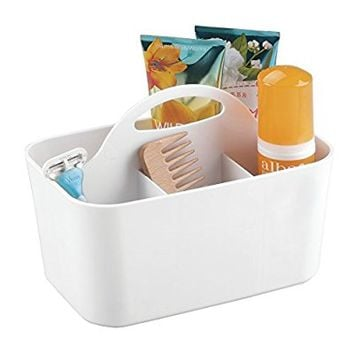 mDesign Bathroom Shower Caddy Tote for Shampoo, Conditioner, Soap - White