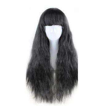 WOODFESTIVAL corn wig long hair wigs for women yellow taro brown black burgundy wig wavy heat resistant synthetic wigs with bang