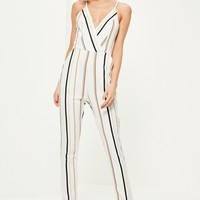 Missguided - White Striped Strappy Jumpsuit