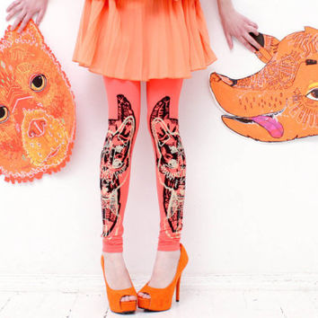 Coral bear fox print leggings