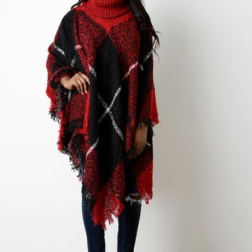 Brushed Loose Knit Plaid Turtle Neck Poncho