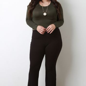 Ribbed Knit High Waisted Flare Pants