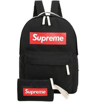 Supreme Trending Women Men Letter Print Canvas Zipper Sport School Shoulder Bag Satchel Laptop Backpack Black I