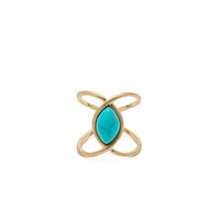 Turquoise Centered Double Loop Midi Ring