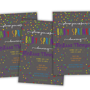 Confetti Rainbow Baby Sprinkle Invitation - Girl Rainbow Sprinkle Invite - Modern - Baby Girl Shower - Personalized - Primary - Glitter