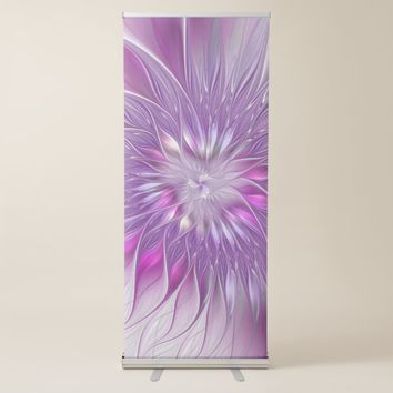 Pink Purple Flower Passion Abstract Fractal Art Retractable Banner