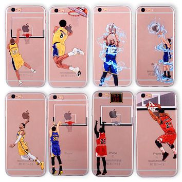 Basketball Phone Case for IPhone 6  8  7 5 5se 6s Curry Jordan Kobe Bryant Wade