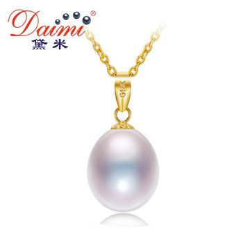 DAIMI 18K Yellow Gold Pendant 8.5-9mm Freshwater Pearl Pendant Necklace Simple Fine Jewelry DN224