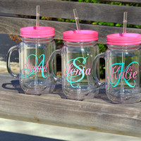 wedding party cup, acrylic tumbler, plastic mason mug, personalized cup, wedding party favor, beach wedding, country wedding, monogram mug