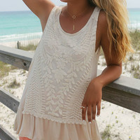 Sun Tans And Bare Feet Lace Ruffle Natural Tank Top
