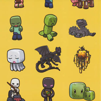Minecraft Character Grid Video Game Poster 22x34