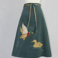 Vintage Duck Applique Wrap Skirt Forest Green Corduroy Cute 1970s Novelty Skirt! XL
