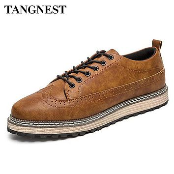 Tangnest Men's Brogue Leather British Style Casual Oxford Shoes