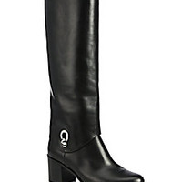Fendi - Fold-Over Leather Knee Boots - Saks Fifth Avenue Mobile