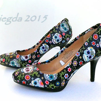 Give Me Some Sugar-Sugar Skull- Day of the Dead- Dia de los Muertos-Women's Party Heels