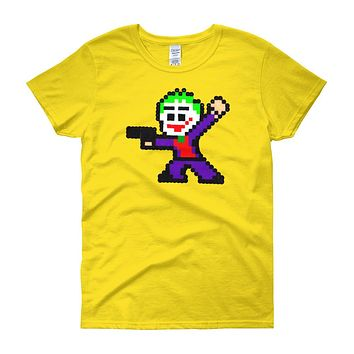 Joker Perler Art Women's Short Sleeve T-Shirt by Silva Linings