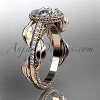 14kt rose gold diamond unique engagement ring, wedding ring ADLR229