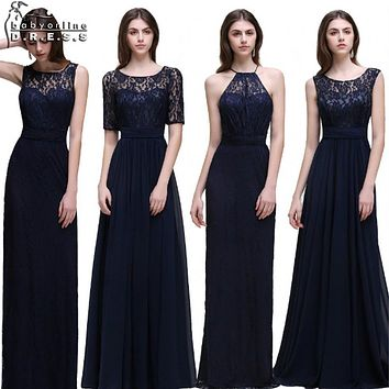 Real Photo Navy Blue Bridesmaid Dresses Long 2017 Chiffon Lace A Line Zipper-Up Floor Length