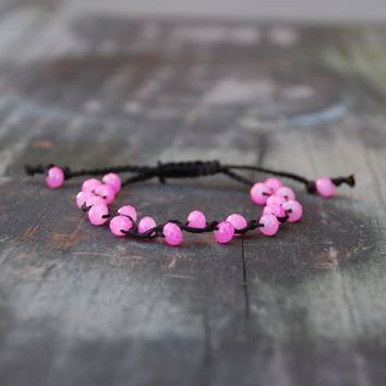 Cherry Blossom Bracelet, Pink Crystal Beaded Bracelet, Dark Brown Adjustable Bracelet, Boho Jewelry, Macrame, Friendship, Skinny Bracelet