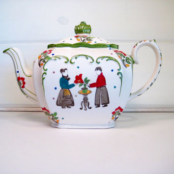 Vintage Sadler Teapot, RARE Folk Art Cube Teapot Pattern #1923 Whimsical Tea Pot By Sadler England