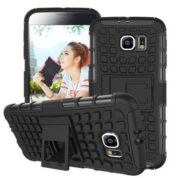 For Samsung Galaxy S6 Case G9200 Hard Cover Heavy Duty Armor Hybrid Rugged Rubber Silicone Stand Phone Case for Samsung S6  ^<