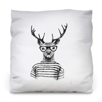 Hipster Deer Throw Pillow
