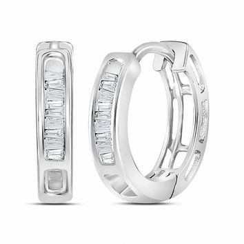 10kt White Gold Women's Baguette Diamond Hughie Hoop Earrings 1-6 Cttw - FREE Shipping (US/CAN)