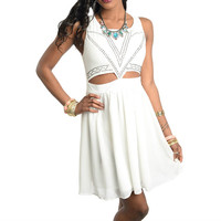 Cut Out Rhinestone Flowy Sleeveless Dress in Ivory