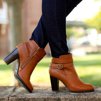 Strappy buckle booties