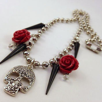 Skull and Rose Necklace - Black Spike Necklace - Ball Chain Necklace - Horror Jewelry - Halloween - Day of the Dead - Red Roses