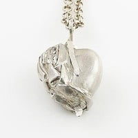 Wrapped in My Love Heart Fine Silver Pendant