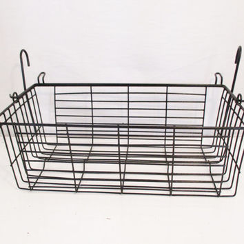 Black Wire Bicycle Basket Industrial Wire Basket Vintage Wire Basket Metal Wire Basket with Handles Metal Basket Vintage Storage Basket