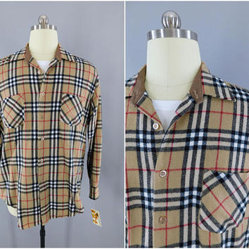 1980s Vintage Flannel Shirt / 80s Plaid Shirt / Menswear / JC Penney Men's Shop / Casual Shirt / Tan & Red Tartan Plaid / XL Tall