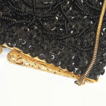 1950's Evening Bag - Black Beaded Purse - Hand Made in Hong Kong - Vintage 50's Hand Bag - Sequin And Glass Beads - Vintage Purse