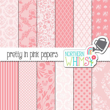 "Pink Damask Digital Paper Pack – ""Pretty in Pink"" – pink damask and floral patterns – pink digital paper – princess scrapbook paper - CU OK"