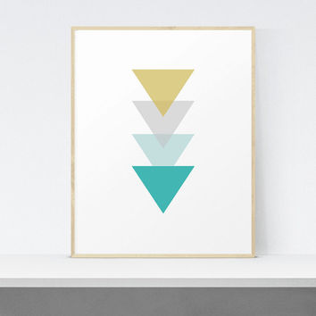 Geometric Triangles Printable Wall Art | Mint Green Print | Minimal Print | Large print