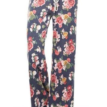 Lets Get Cozy Floral Lounge Pants