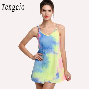 Tengeio Summer Tie Dye long Camisole for Women Spaghetti Strap Backless Top Sexy Sleeveless Camiseta Dress Blusa Alcinha 4S