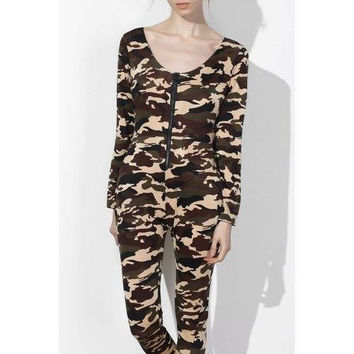 Sexy Plunging Neck Camo Long Sleeve Jumpsuit For Women