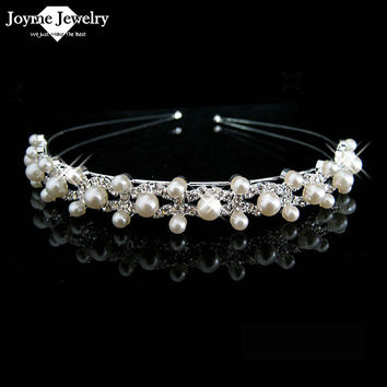 Crystal Rhinestone Pearl Headband Silver Wedding Party Tiara Hair bands Bridal Hair Accessories Flower Girls Hairwear