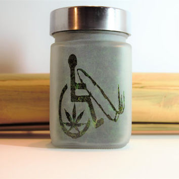 Cannabis Accessible Etched Glass Stash Jar - Medical Marijuana Gift - 420 Gifts