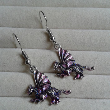 pink glitter silvertone dragon  dangle earrings