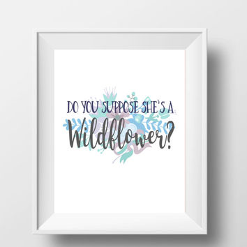 "Alice In Wonderland Do You Suppose She's A Wildflower Disney Quote DIGITAL DOWNLOAD 8"" x 10"" Printable Blue Purple Home Nursery Decor Sign"