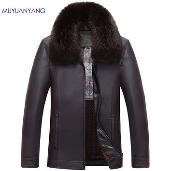 Zipper Thicken Faux Leather For Male Coat With Fur Collar Leather Overcoat Men Casual Men's Leather Jacket and Coats